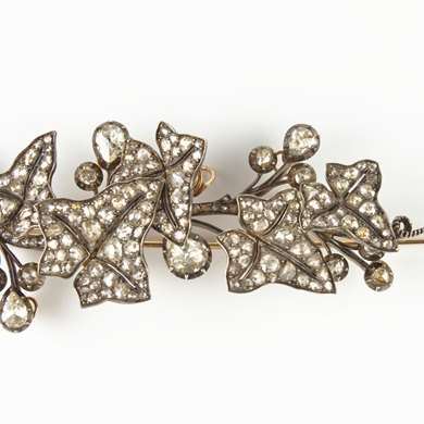 Gold ans silver diamonds trembleuse brooch
