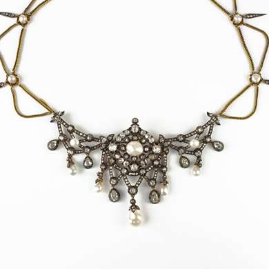 Gold pearl and diamond drapery necklace by Bapst (Paris)