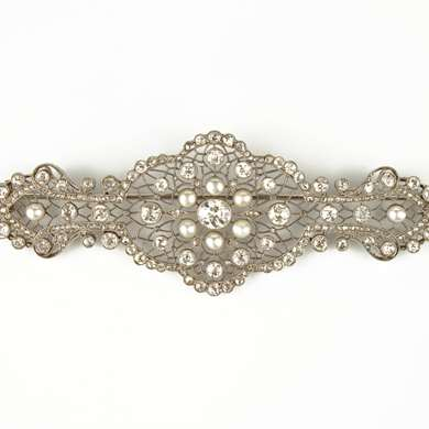 Belle Epoque diamond and pearl brooch