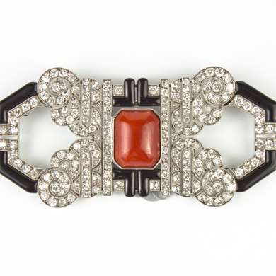 Art Deco diamond coral and enamel brooch