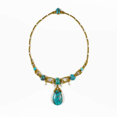 Art-Nouveau turquoise pearls and gold necklace