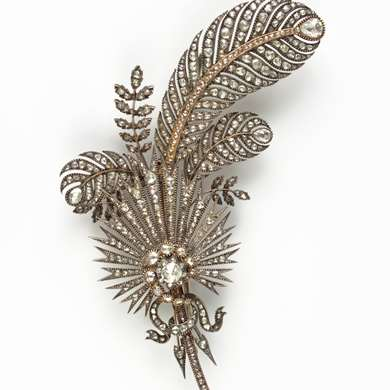 Belle Epoque gold and diamonds corsage brooch