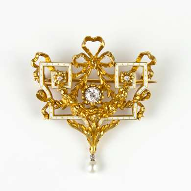 Belle Epoque gold, enamel and diamond brooch