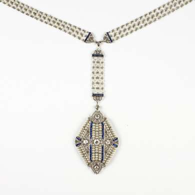 Belle Epoque pearl, sapphire and diamond sautoir