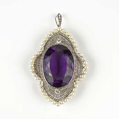 Belle Epoque amethyst, diamonds and pearls pendant