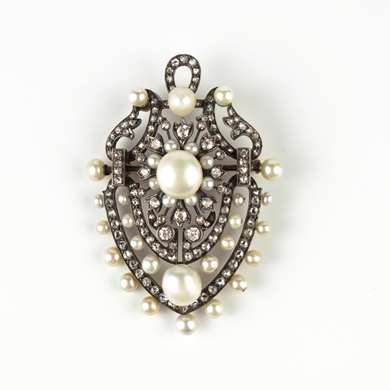 Belle Epoque gold, pearls and diamonds pendant