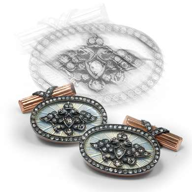 Russian guilloché enamel and diamond cufflinks