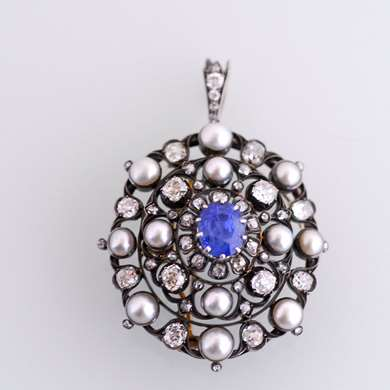 Belle Epoque  gold, sapphire pearls and diamonds pendant