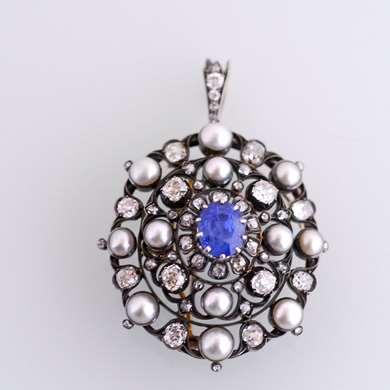 Belle Epoque  gold, sapphire pearls and diamonds pendant