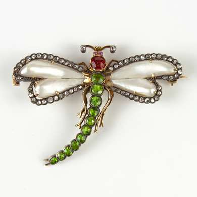 Art Nouveau demantoid garnet and pearls dragonfly brooch