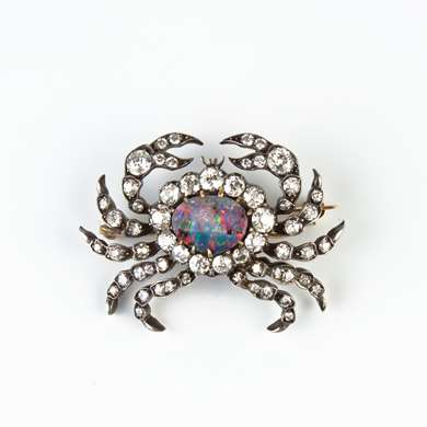Crab brooch, gold, opal and diamonds. Circa 1890
