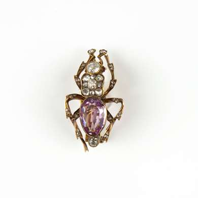 Victorian pink topaz, diamonds and gold insect brooch