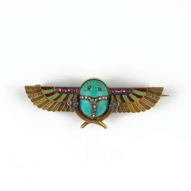 Egyptian Revival gold scarab brooch