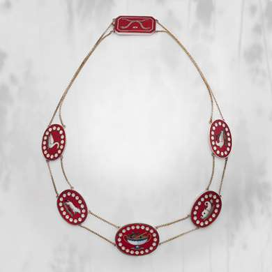 Gold and pietra dura necklace. Italian work