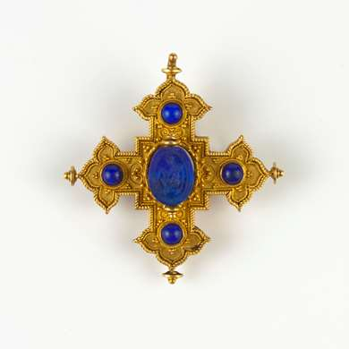 Etruscan revival gold and lapis lazuli pendant