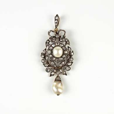 Belle Epoque gold diamonds and pearl pendant