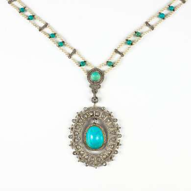 Belle-Epoque pearls, turquoise and diamonds necklace