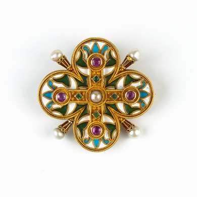 Gold, enamel, ruby, emerald and pearl brooch.