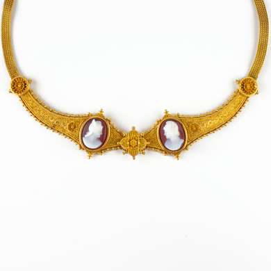 Archaeological Revival gold and cameo necklace