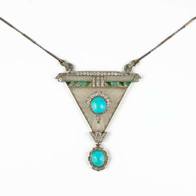 Art-Deco platinum, rock crystal, turquoise and diamonds pendant