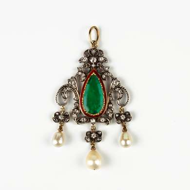 Neo Renaissance emerald, diamond, enamel and pearls