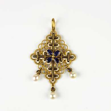 Renaissance Revival enamel cruciform pendant, by Philips Brothers