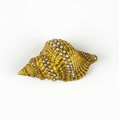 Gold shell brooch