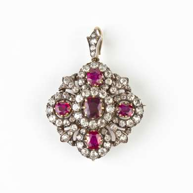 Gold ruby and diamond pendant