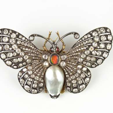 Gold and silver butterfly brooch