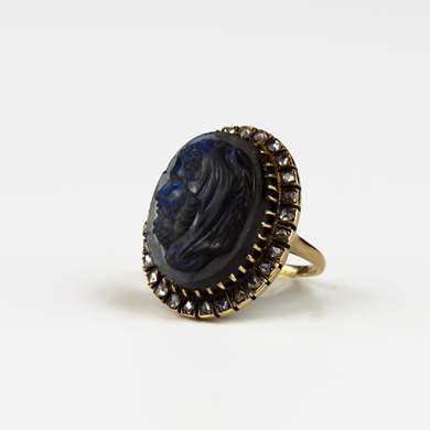 Labradorite cameo and diamonds gold ring