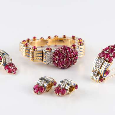 Ruby, diamond and gold bangle and brooch set