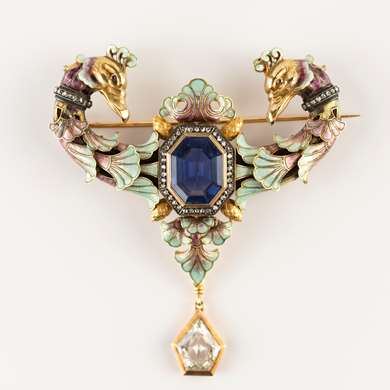 Antique sapphire, diamond and enamel renaissance revival brooch