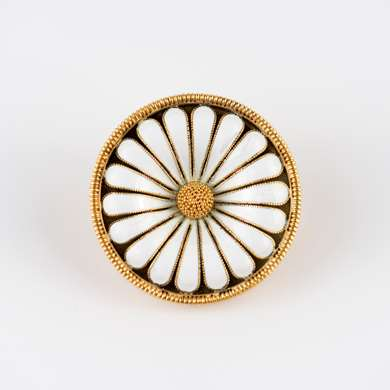 Enamel and gold flowehead brooch