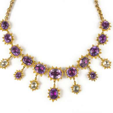 Early Victorian gold amethysts and aquamarines necklace