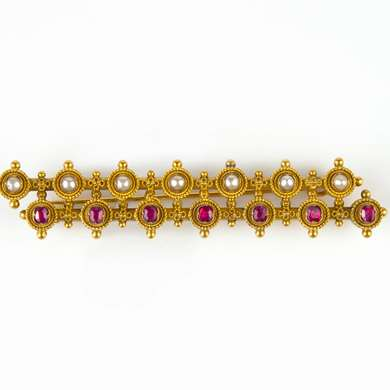 Etruscan Revival gold, ruby and pearl brooch