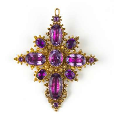 Victorian gold and amethyst cross pendant