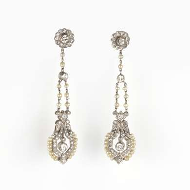 Pair of Belle Epoque pearl and diamond earring