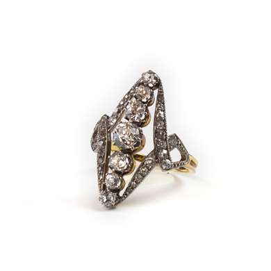 marquise gold and diamonds ring