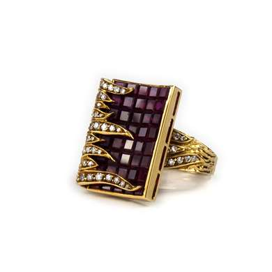 Gold ruby and diamond ring