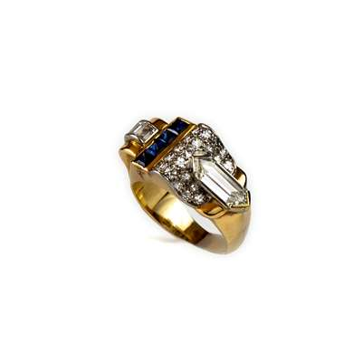 Diamond and sapphire gold tank ring