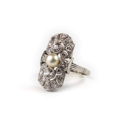 Art Deco platinum diamond and pearl ring