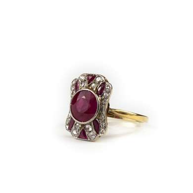 Platinum and yellow gold ruby and diamond ring