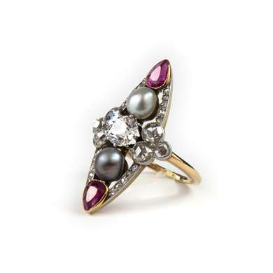 Gold marquise pearl, ruby and diamond ring