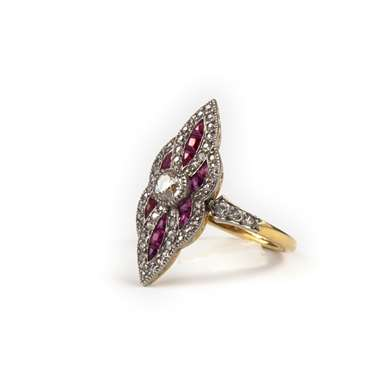 Gold ruby and diamond marquise ring
