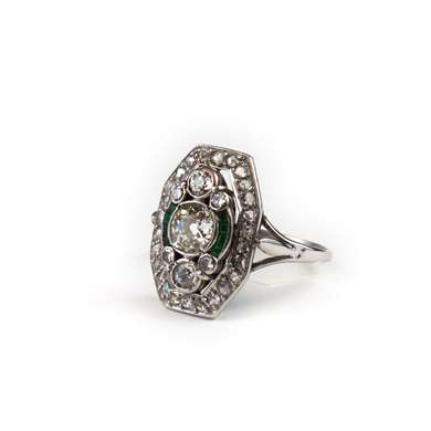 Gold diamond and emerald ring