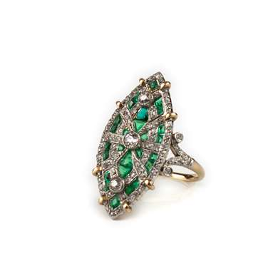 Belle Epoque gold  and platinum marquise emerald and diamond ring