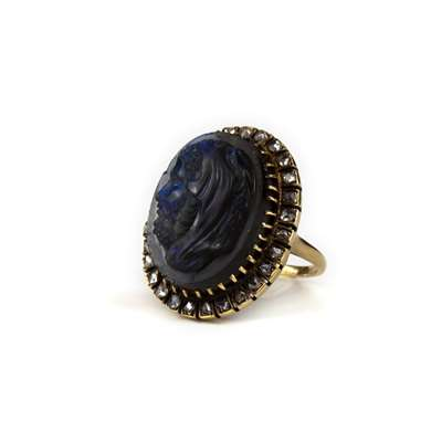 Labradorite cameo and diamond gold ring