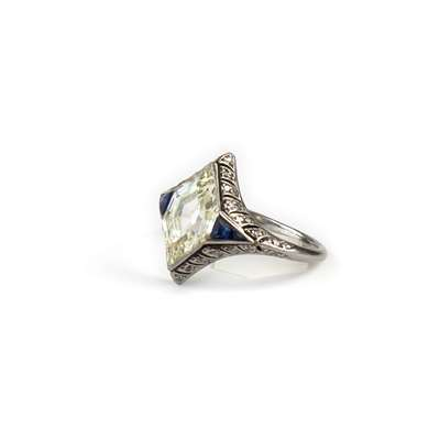 Belle Epoque platinum diamond and sapphire ring