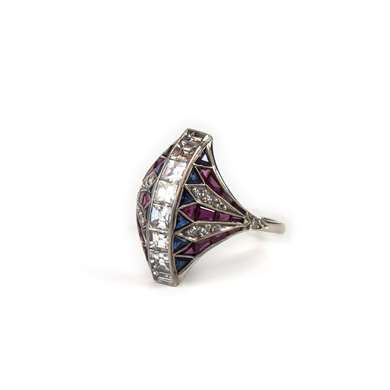 Belle Epoque platinum diamond sapphire and ruby ring