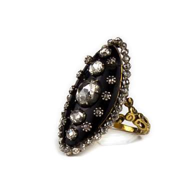 Antique enamel and diamond gold ring